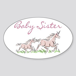 Unicorn Baby Sister Oval Sticker