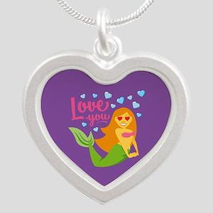Emojione Mermaid Love You Silver Heart Necklace