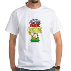 Ask Questions Garfield White T-Shirt