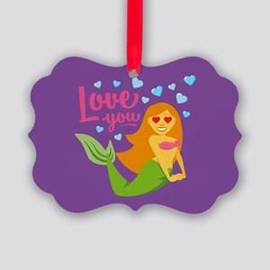 Emojione Mermaid Love You Picture Ornament