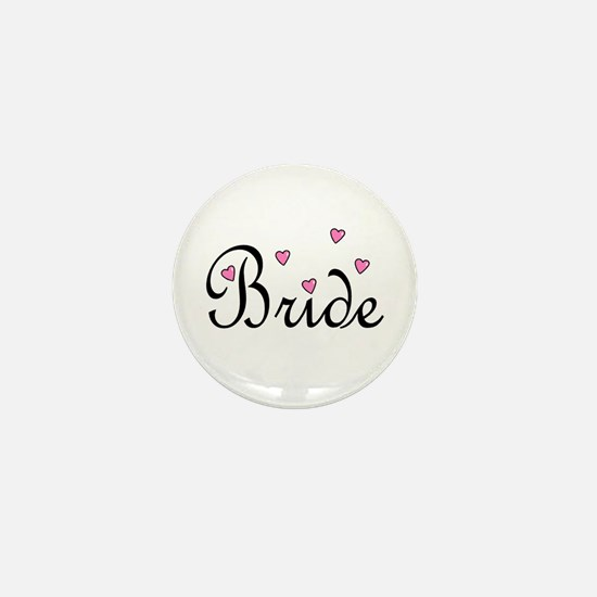 Bride (Pink Hearts) Mini Button (10 pack)