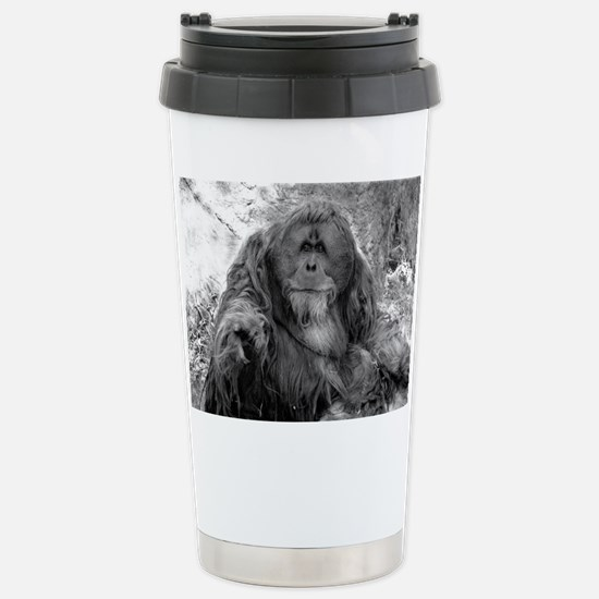 Pointing Orangutan Stainless Steel Travel Mug