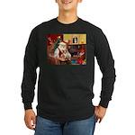 Santa's Corgi (#3P) Long Sleeve Dark T-Shirt
