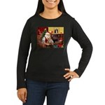 Santa's Corgi (#3P) Women's Long Sleeve Dark T-Shi