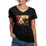 Santa's Corgi (#3P) Women's V-Neck Dark T-Shirt
