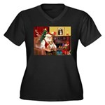 Santa's Corgi (#3P) Women's Plus Size V-Neck Dark