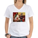 Santa's Corgi (#3P) Women's V-Neck T-Shirt