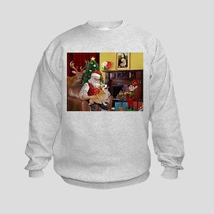 Santa's Welsh Corgi (7b) Kids Sweatshirt