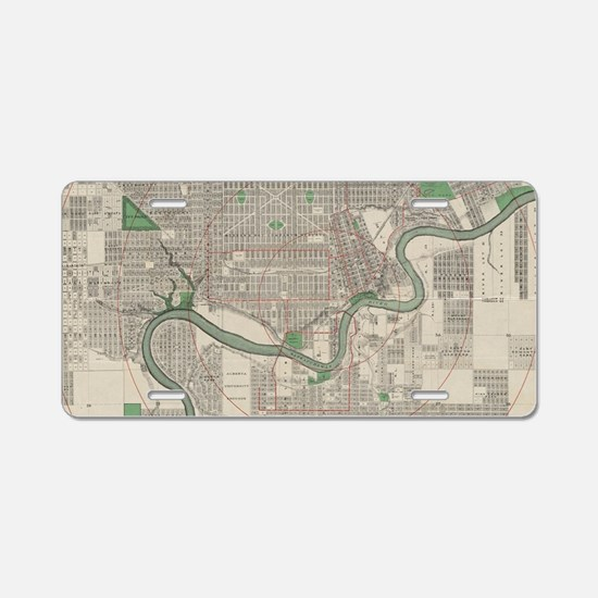 Vintage Map of Edmonton Can Aluminum License Plate