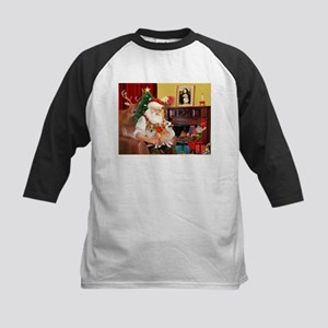 Santa's 2 Corgis (P2) Kids Baseball Jersey