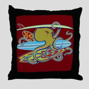 Surfing Halloween Octopus Throw Pillow