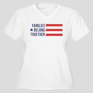 Families Belong T Women's Plus Size V-Neck T-Shirt