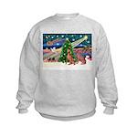 XmasMagic/2 Weimaraners Kids Sweatshirt