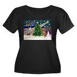 Xmas Magic & Vizsla Women's Plus Size Scoop Neck D