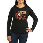 Santa's Vizsla Women's Long Sleeve Dark T-Shirt