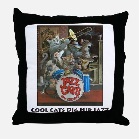Cool Cats Dig Hip Jazz Throw Pillow