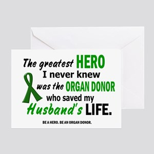 Donate life greeting cards cafepress hero i never knew 1 husband greeting card m4hsunfo