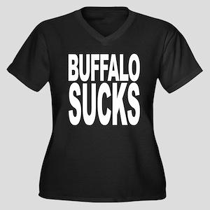 Buffalo Sucks Women's Plus Size V-Neck Dark T-Shir