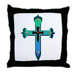 Turquoise Western Cross Throw Pillow