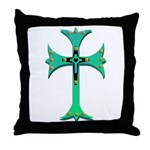 Turquoise Gothic Cross Heart Throw Pillow