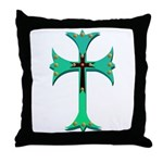 Turquoise Gothic Cross Throw Pillow