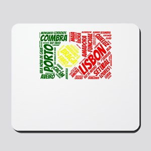 Portugal Flag with City Names Word Art Mousepad