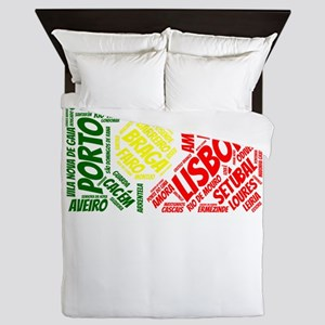 Portugal Flag with City Names Word Art Queen Duvet