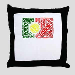Portugal Flag with City Names Word Ar Throw Pillow