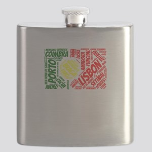 Portugal Flag with City Names Word Art Flask