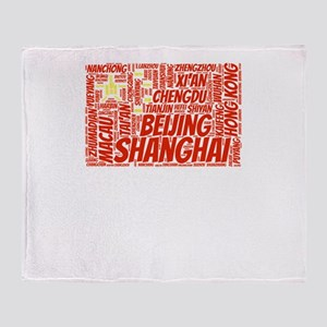 China Flag with City Names Word Art Throw Blanket