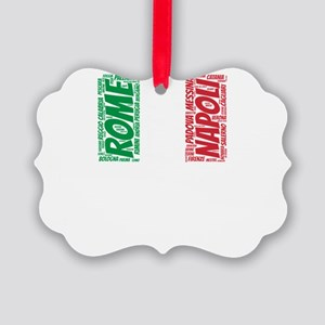 Italy Flag with City Names Word A Picture Ornament