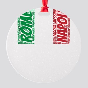 Italy Flag with City Names Word Art Round Ornament