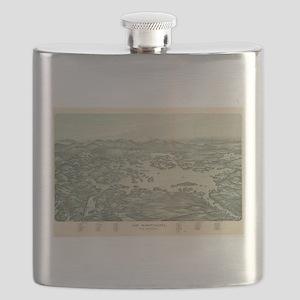Vintage Pictorial Map of Lake Winnipesaukee Flask