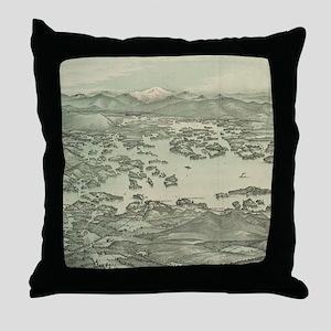 Vintage Pictorial Map of Lake Winnipe Throw Pillow