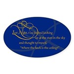 Looking At Stars In Bed Oval Sticker