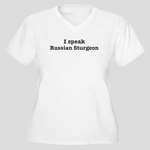 I speak Russian Sturgeon Women's Plus Size V-Neck