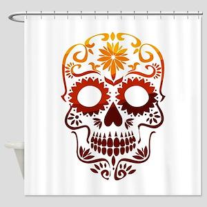 Red and Orange Sugar Skull Shower Curtain