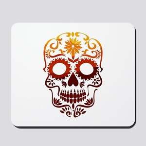 Red and Orange Sugar Skull Mousepad