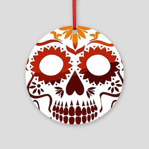 Red and Orange Sugar Skull Round Ornament