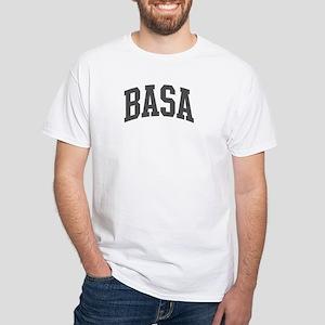 Basa (curve-grey) White T-Shirt