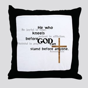 Kneel Before God Throw Pillow