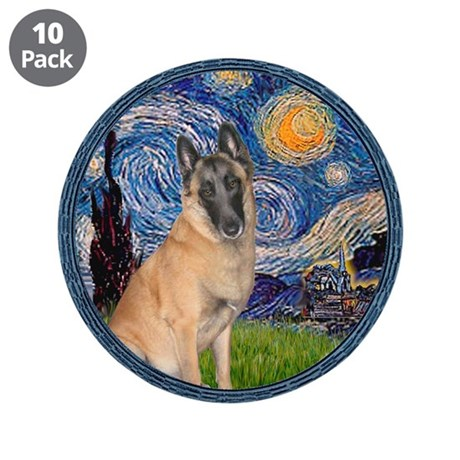 """Starry/Belgian Malanois 3.5"""" Button (10 pack)"""