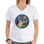 Starry/Belgian Malanois Women's V-Neck T-Shirt