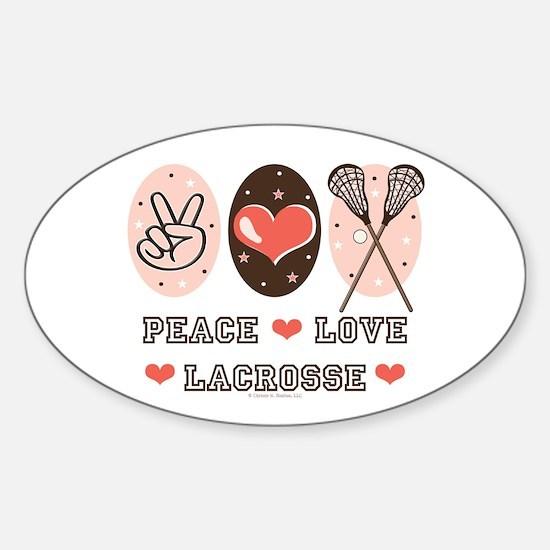 Peace Love Lacrosse Oval Decal