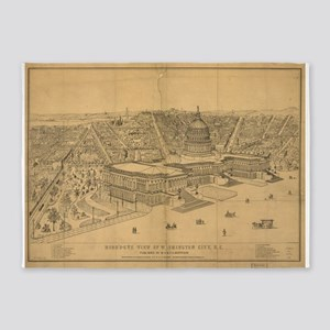 Vintage Pictorial Map of Washington 5'x7'Area Rug