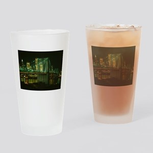 Brooklyn Bridge at Night Photograph Drinking Glass
