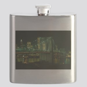 Brooklyn Bridge at Night Photograph Flask