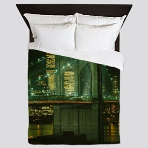 Brooklyn Bridge at Night Photograph Queen Duvet