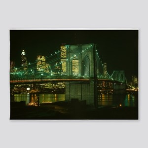 Brooklyn Bridge at Night Photograph 5'x7'Area Rug