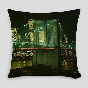 Brooklyn Bridge at Night Photograp Everyday Pillow